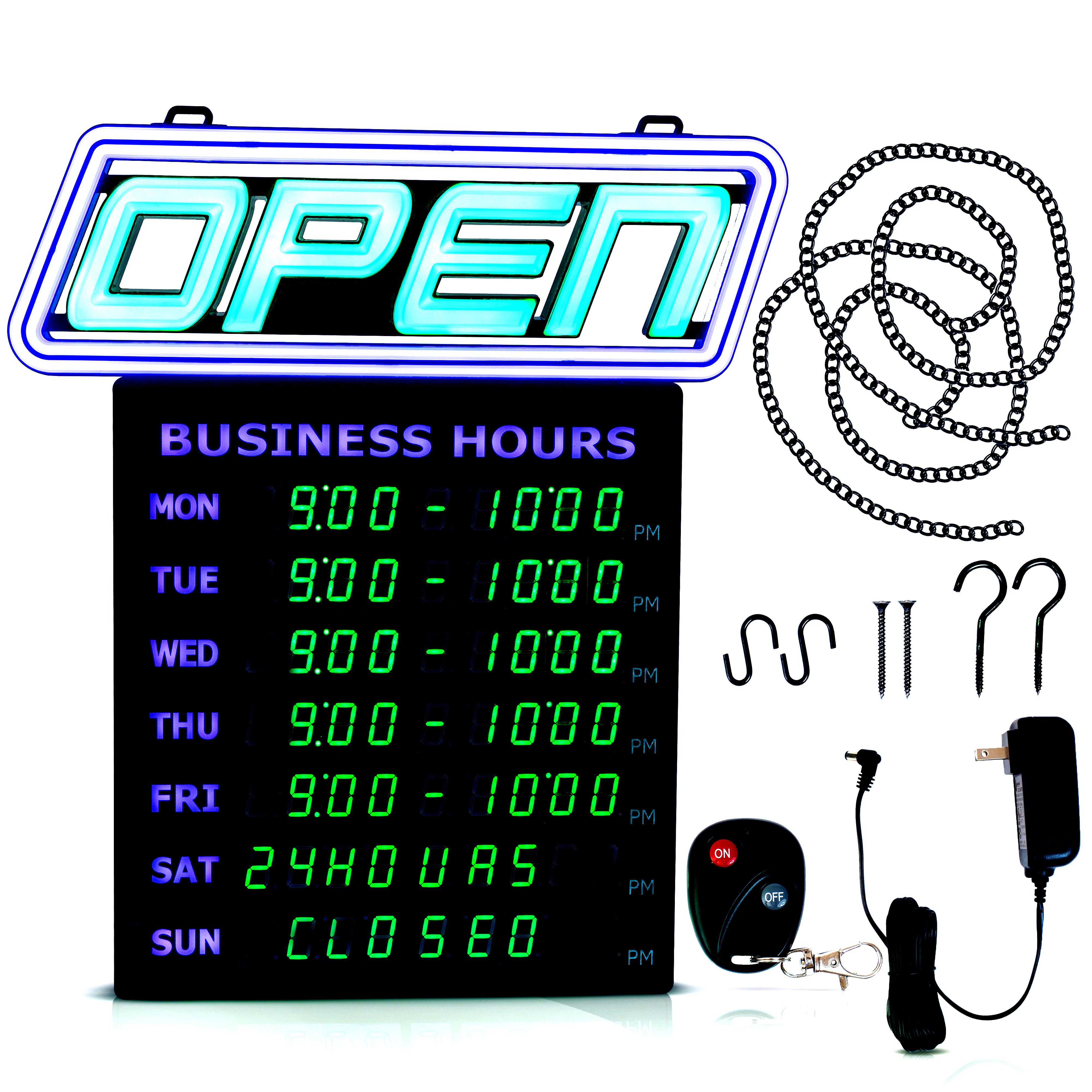 15 X 16 5 Digital Business Hours Open Sign